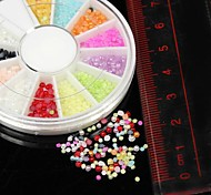 1200PCS 12Colours 2.0mm Half Round Pearl Beads Wheel Nail Art Decoration