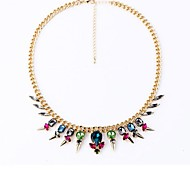 European Fashion Multi Color Crystal Statement Necklace