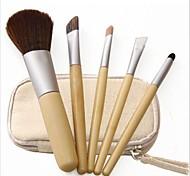 Tragbare 5pcs Make-up Pinsel Leinwandbeutel Bambusgriff