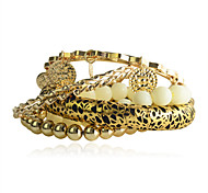 Europestyle Fashion Luxury Leopard Print Acrylic Spiral Beads Alloy Bracelet(6 Pcs A Set)