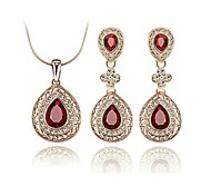 Beautiful Shining Ruby Jewelry Set 18K Rose Gold Plated Red Crystal Necklace Earrings Fashion Set