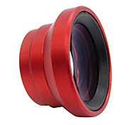 Detachable 0.67X Wide Angle + Macro Lens for Cell phone / Camera - Red