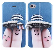 Lovely Nut Little Finger Design PU Full Body Case with Card Slot for iPhone 4/4S