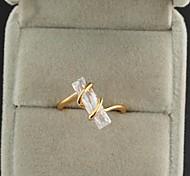 Women's New Fashion 18K Gold Plated Rectangular Design Personality Zircon Ring J1089