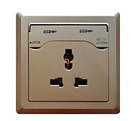 1000mA Single USB Charging Wall Socket Panel Golden 250V