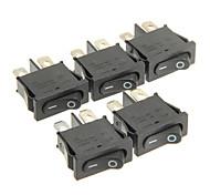 Hongju t85 2-pin del interruptor barco oscilante - negro (5 piezas)