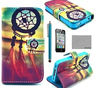 COCO FUN ® patrón nudo chino PU Leather Case cuerpo completo con protector de pantalla, Stand and Stylus para iPhone 4/4S