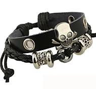 La pulsera de cuero con cuentas Skull