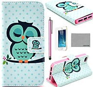 COCO FUN® Sleeping Cute Owl Pattern PU Leather Full Body Case with Film, Stand and Stylus for iPhone 5/5S