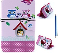 Cartoon Owls Pattern PU Leather Full Body Case+Stylus Pen for Samsung Galaxy Tab 3 Lite T110/T111
