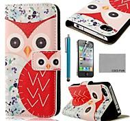 Patrón de búho rojo Flor COCO FUN ® PU Leather Case cuerpo completo con protector de pantalla, Stand and Stylus para iPhone 4/4S