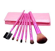 7 Pcs Pony Hair Cosmetic Brush Set With Eyelash Curler