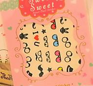 10PCS Lunettes design cartoon Nail Art Stickers Harajuku style