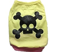 "Cotton Jersey Printed ""Skull"" Tank (Yellow)"