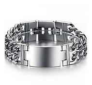 clássico homem duplo suave exagerada grande grossa pulseira de titânio de aço