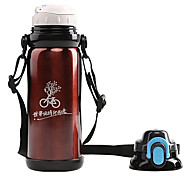 Mountainpeak 800ml Red Stainless Steel Warm Keeping Cycling Water Bottle