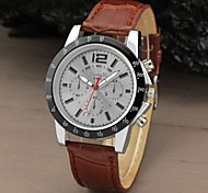 Men Sport Round Dial Leather Band Dress Quartz Analog Watch