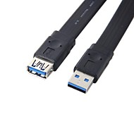 New generic Standard 5Gbps USB 3.0 A male to female Extension Flat Slim Cable Black Color 1M 3FT