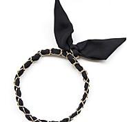 Lureme®Fashion Metal Chain Chiffon Rabbit Ears Headband