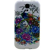Diamond Peacock and Flowers Pattern Diamond Hard Case for Samsung Galaxy S4 I9500