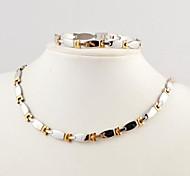 Linha Forma Masculina Moda Magnet Saúde Conjuntos de titânio de aço colares e pulseiras Jóias