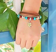 Women's Lucky Cover Wooen Beads Leather Braided Bracelets