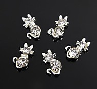 10pcs Cute Kitty Cat Crystal Rhinestones 3D Alloy Nail Art Decoration