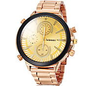 JUBAOLI® Men's Big Round Dial Gold Steel Band Quartz Wrist Watch (Assorted Colors) Cool Watch Unique Watch