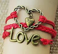 shixin® rouge bronze en cuir bracelets d'emballage de forme de coeur d'amour classiques (1 pc)