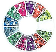 600PCS Mix Colour Horse Eye and Star Shape Neon Metal Studs Set Nail Art Decoration