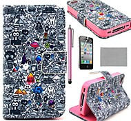 Patrón de dibujos animados pintada COCO FUN ® PU Leather Case Full Body Con La Película, Stand And Stylus para iPhone 4/4S