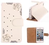 Strass handgemachte bling eleganten Blumen-Design Ledertasche für iPhone 4/4S