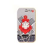 Korean Version Cloth Flowers Series Style Red Colors Navy Icon PU Leather Case with Stand for iPhone 4/4S