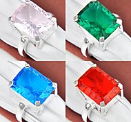 Classique Quartz Rose Vert Bleu Topaze Topaze Rouge Quartz Gemstone Silver Ring 1PC