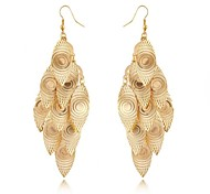 (1 par) europeos (hojas huecas multicapa) pendientes de gota de la aleación de oro