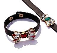 Bowknot Heart Of The Ocean Gem Leather Bracelet