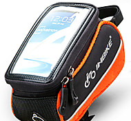 INBIKE 4.8 Inch Polyester and EVA Black and Orange Bicycle Front Bag with Transparent PVC Touchable Mobile Phone Screen