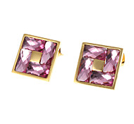 Fashion Square Golden Alloy Drop Earrings(Green,Purple,Light Blue,Pink,White,Red) (1 Pair)