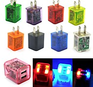 2A LED Flashing Light Dual USB 2-Port Home Travel Wall Charging Charger Adapter for Samsung/iPhone US  9 color