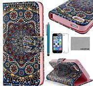 COCO ® FUN Ouro padrão tribal PU Leather Case Full Body com Filme, Stand e Stylus para iPhone 5/5S