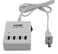 Vina ups-006 Portable Smart 5A High Speed 4-Port USB Fast Charger With Power Adapter-Black(US Plug)