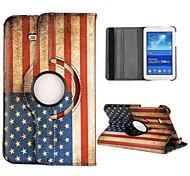USA Flag 360 Rotatable Auto Sleep/Wake Leather Case for Samsung Galaxy Tab 3 Lite T110
