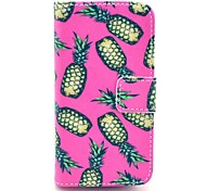 Pink Pineapple Pattern PU Leather Full Body Case with Stand for iPhone 4/4S