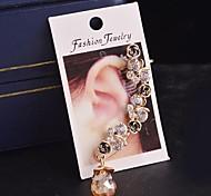 Indian Baroque Vintage Enamel Rose Women Crystal Single Cuff Clip Earring