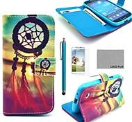 estojo de couro pu Coco divertido ® padrão nó chinês com protetor de tela, stylus e Suporte para Samsung Galaxy s4 mini-i9190