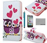 COCO FUN ® Purple Eulen-Familie PU-Leder Ganzkörper Tasche mit Schutzfolie, Stand und Stylus für iPhone 4/4S