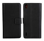Solid Color Pattern PU Leather Full Body Case with Stand and Card Slot for Huawei Ascend P7