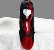 AYAMO preto e vermelho comprido ondulado sintética Punk Lolita peruca