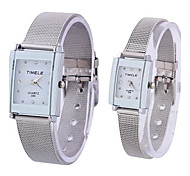 Coway Fashion Lovers Rectangle Silver Dial Silver Alloy Band Quartz Analog Waterproof Wrist Watch