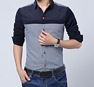 Männer Revers Langarm-Shirts Spleißen Cord (Taste Standort zufällig)